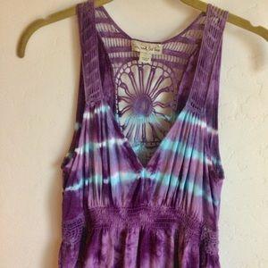 live and let live Dresses - Live and Let Live Plum Crochet Print Dress Size L